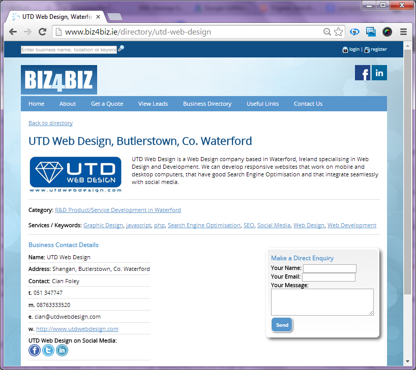 UTD Web Design on Biz4Biz Company Search Screen